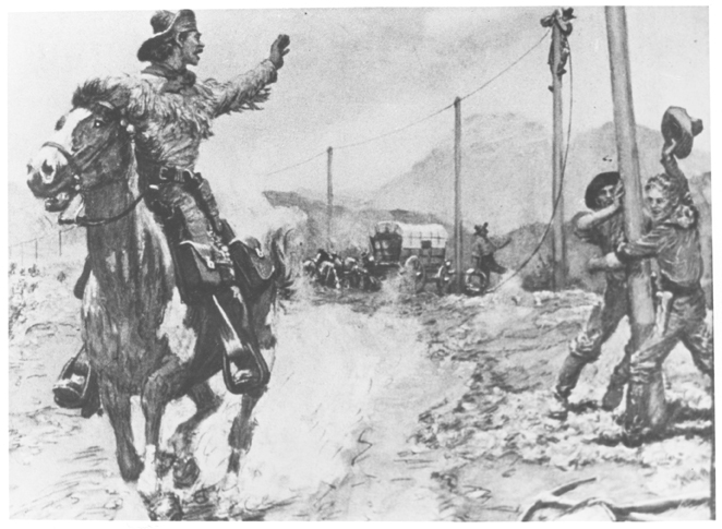 drawing of a pony express rider ping a telegraph construction crew